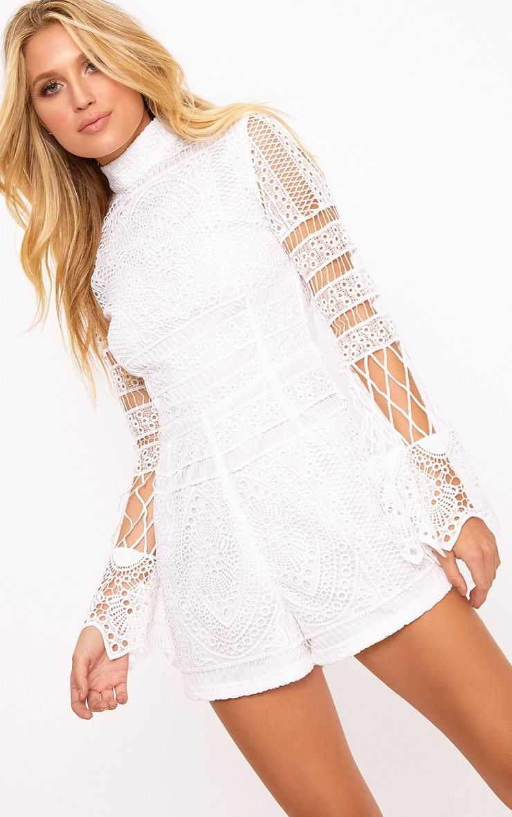 Kaidi White Lace Bell Sleeve Playsuit