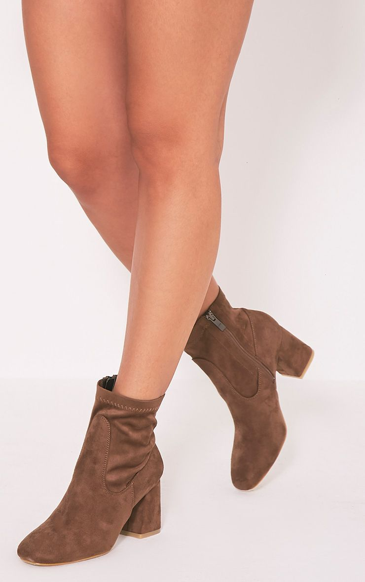 Hayden Mocha Faux Suede Ankle Boots 1