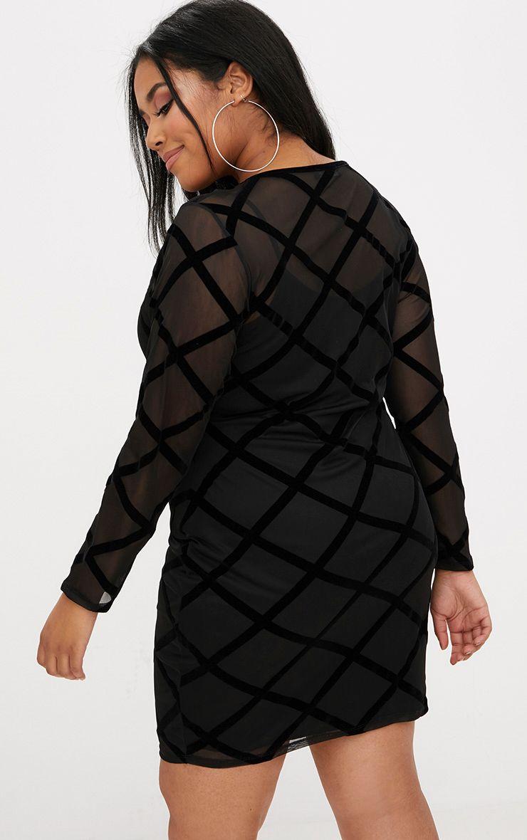 Plus Black Diamond Mesh Midi Dress Plus Size Prettylittlething Usa