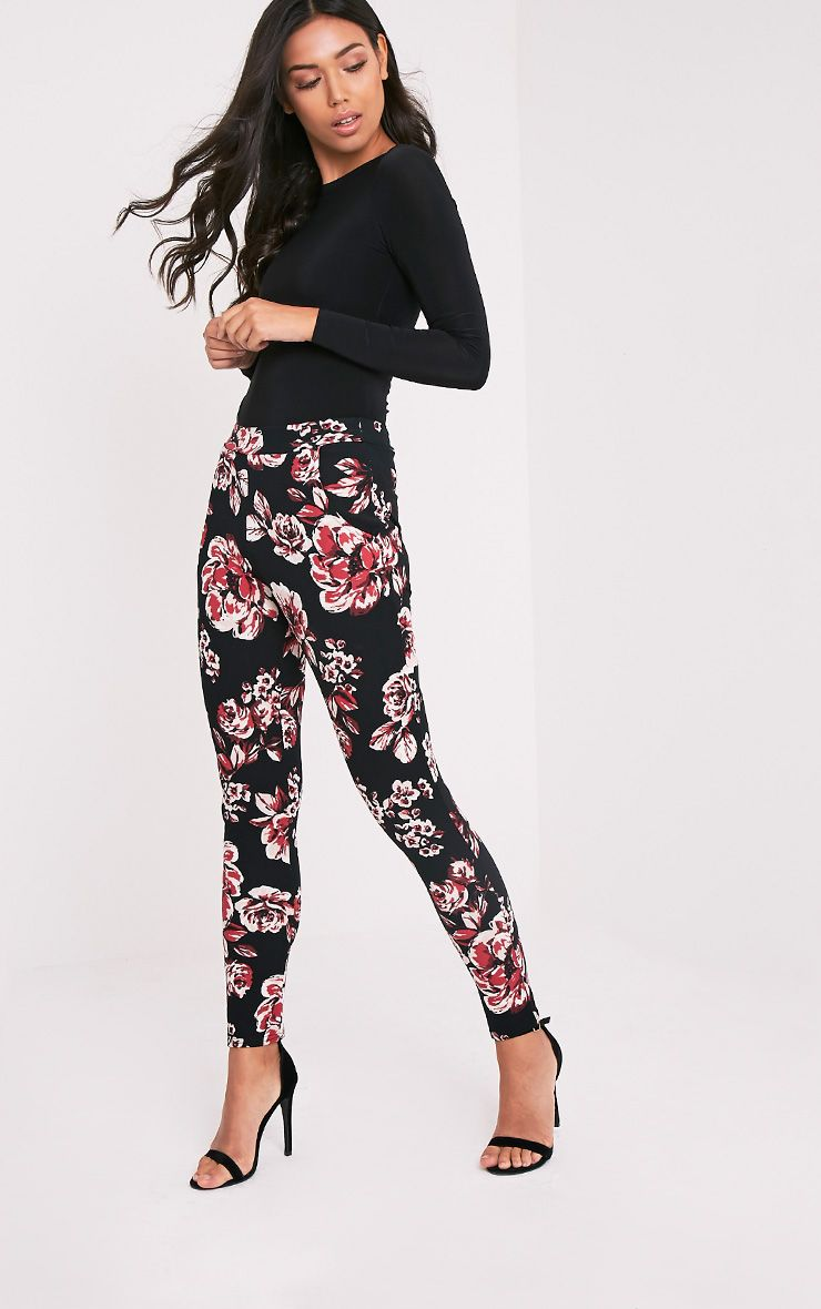 Karolina Burgundy Floral Crepe Cigarette Trousers