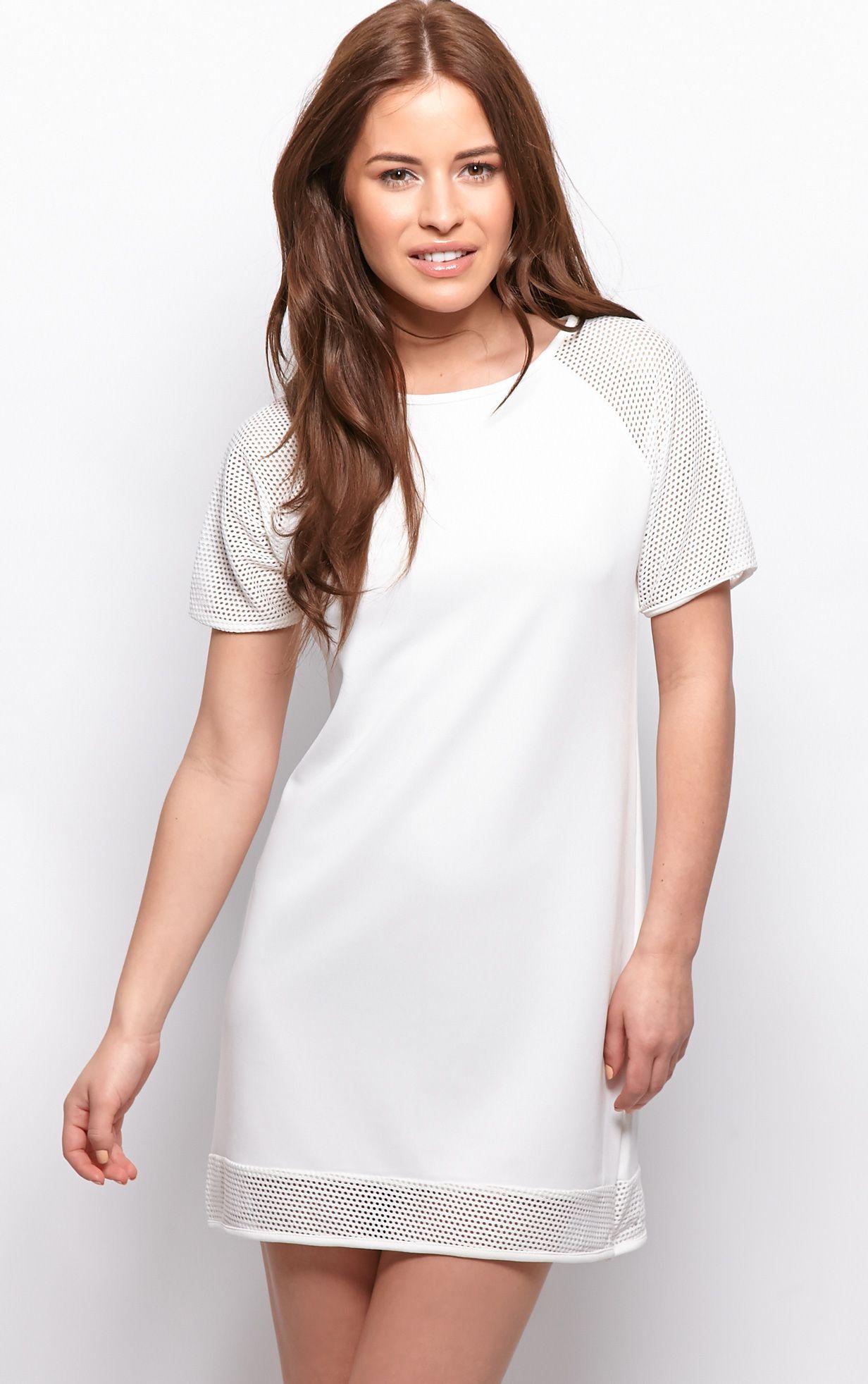Sabrina White Block Fishnet Dress 1