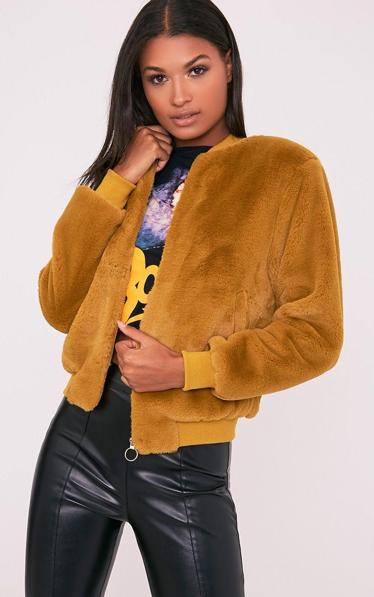 Jessenia Dark Lime Soft Faux Fur Bomber Jacket