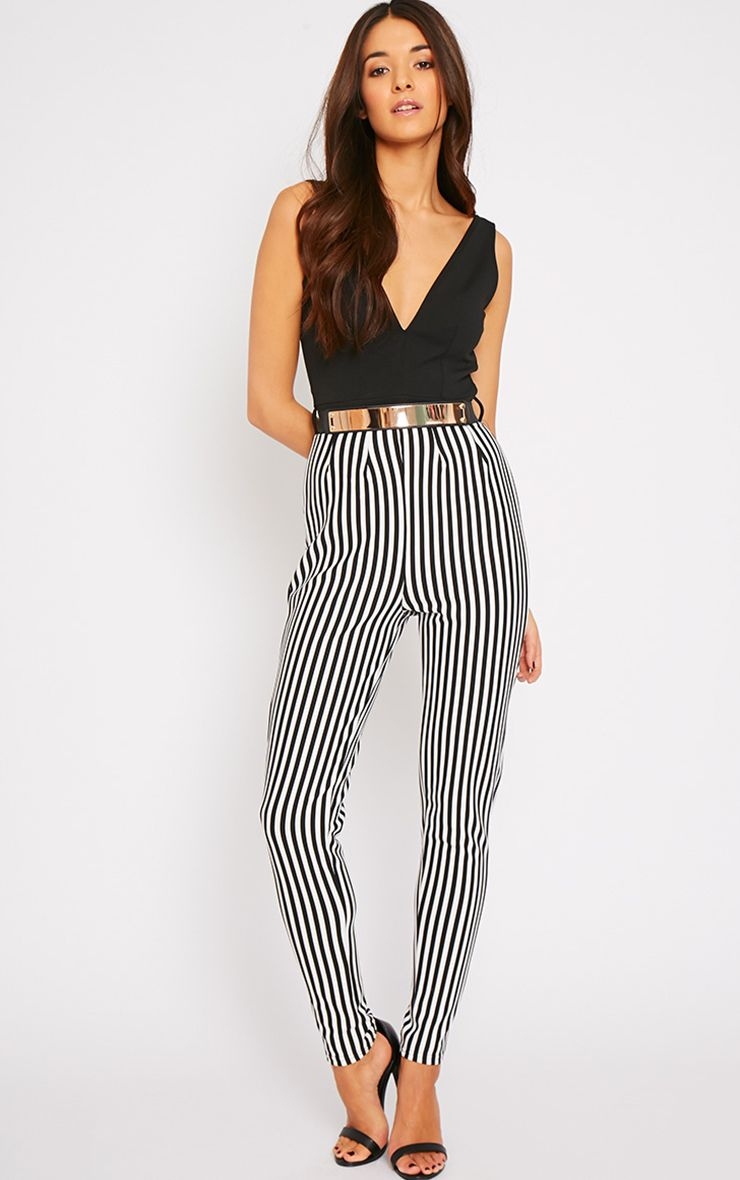 Bryn Black Plunge Stripe Jumpsuit  1