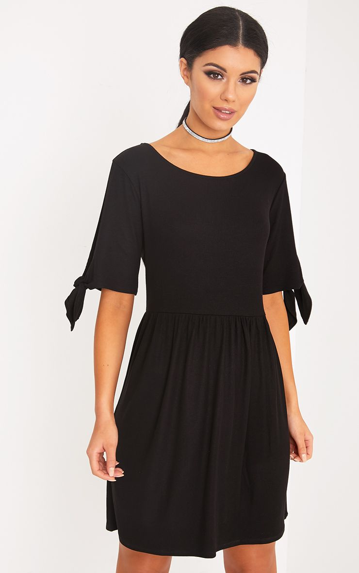 Vivian Black Ribbed Tie Sleeve Smock Dress