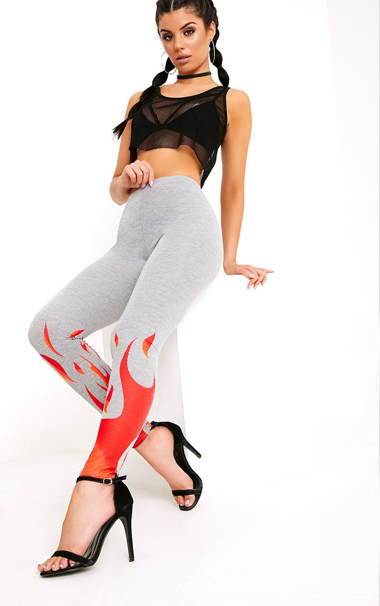 Flame Print Grey Marl Leggings