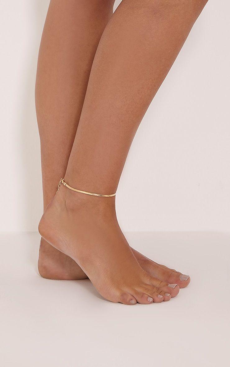 Ellaria Gold Plain Anklet 1