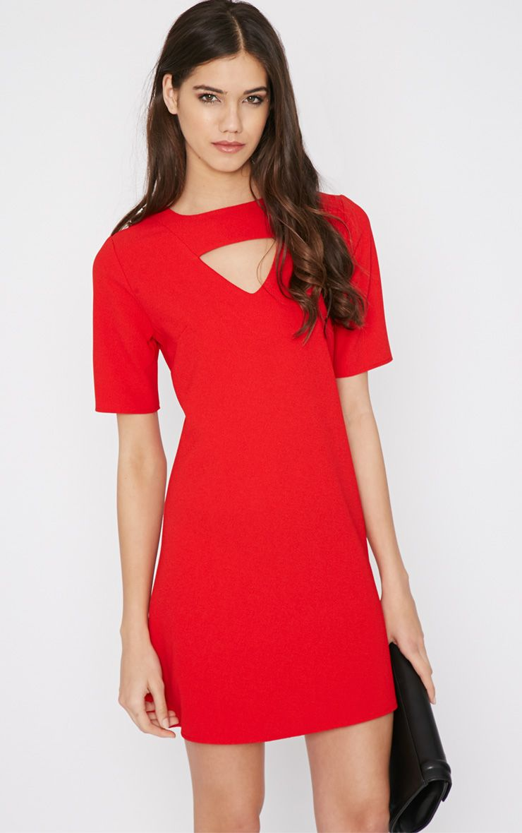 Zona Red Crepe Cut Out Shift Dress 1