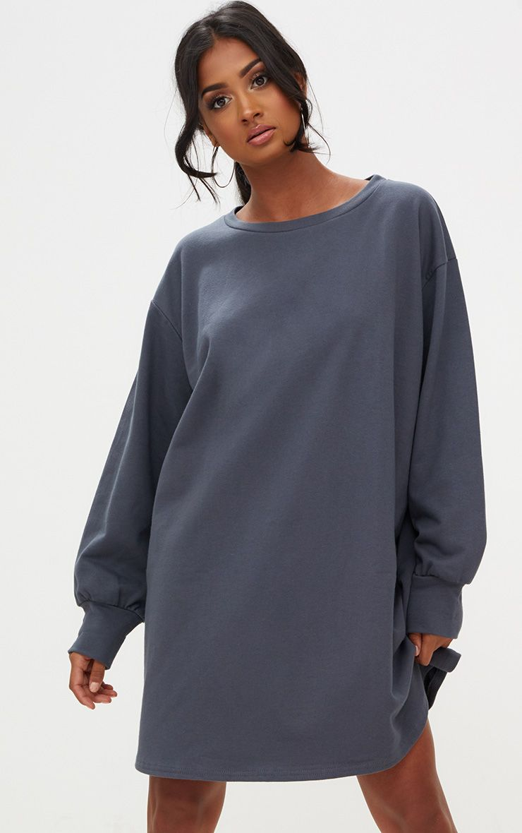 Charcoal Oversized Sweater Dress