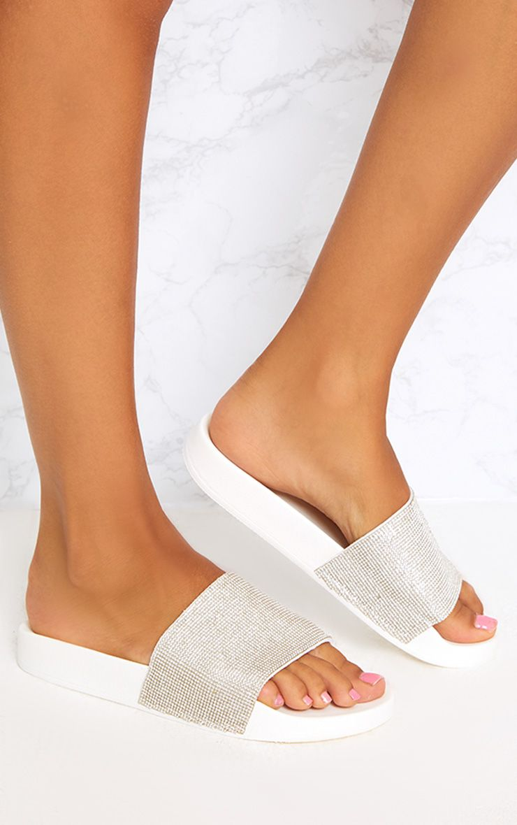 White Diamante Sliders