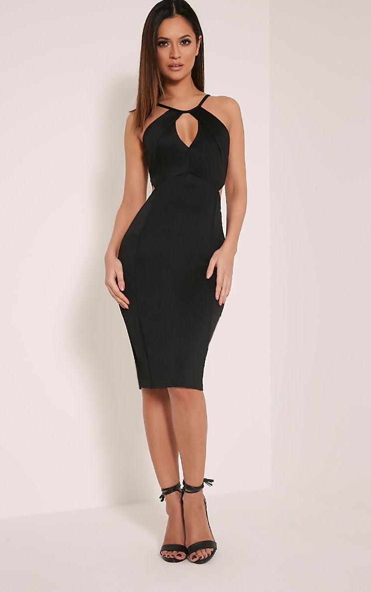 Terrie Black Cut Out Detail Midi Dress 1