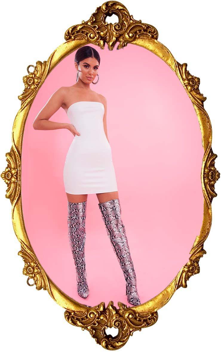 White Bandeau Pu Bodycon Dress
