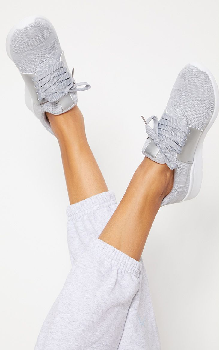 Grey Knitted Trainers