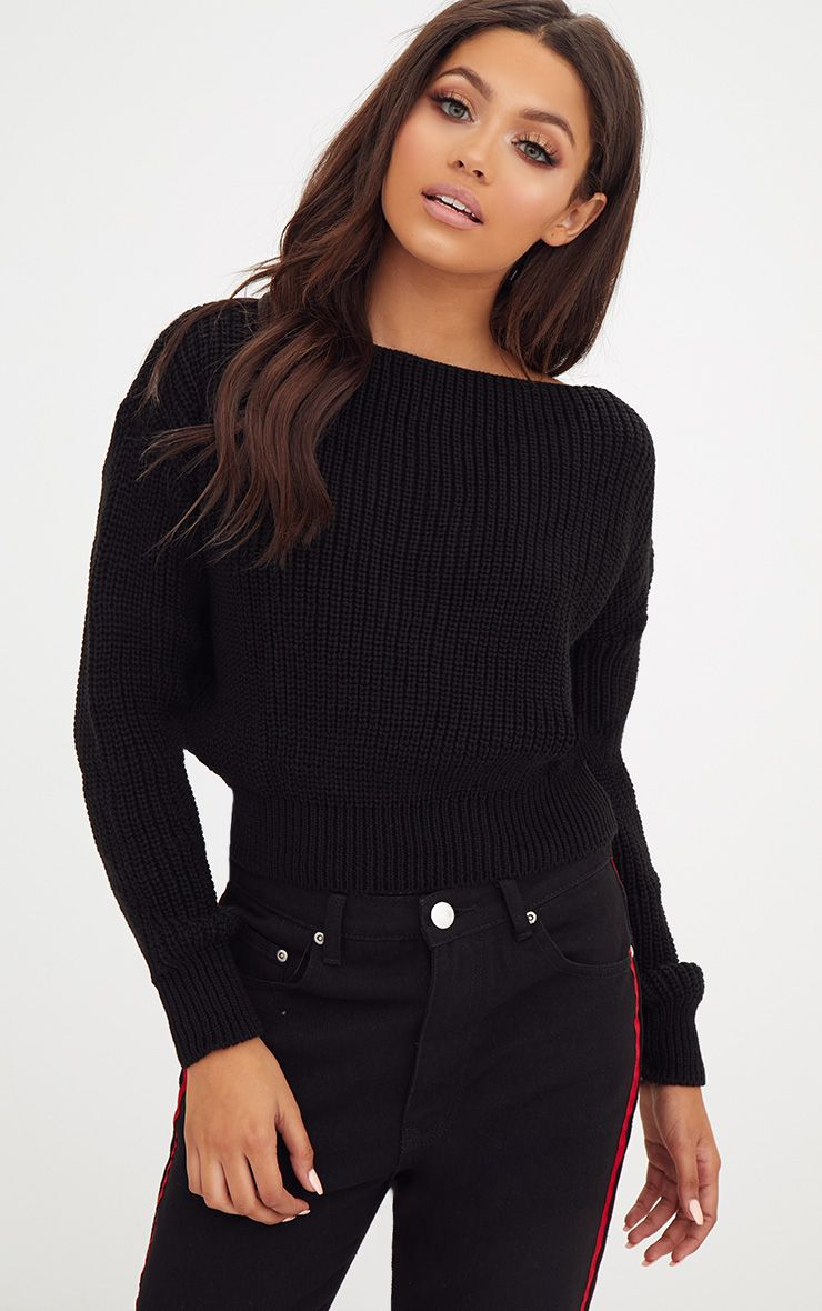 Christiana Black Mixed Knit Slash Neck Crop Jumper 1