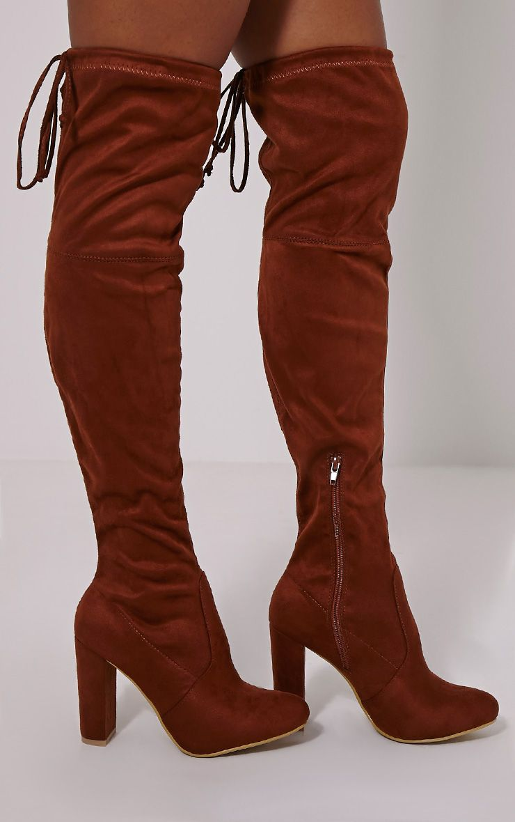 Lorda Tan Faux Suede Over The Knee Boots 1