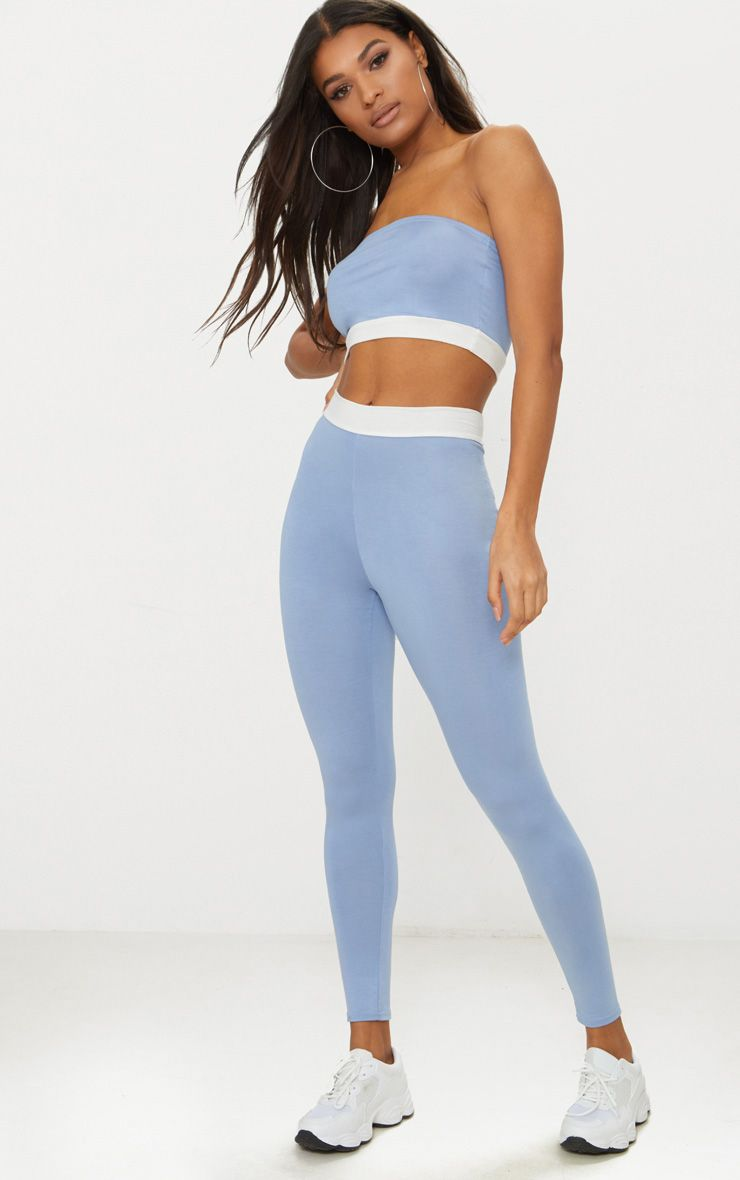 Dusky Blue Contrast Waist Band Leggings
