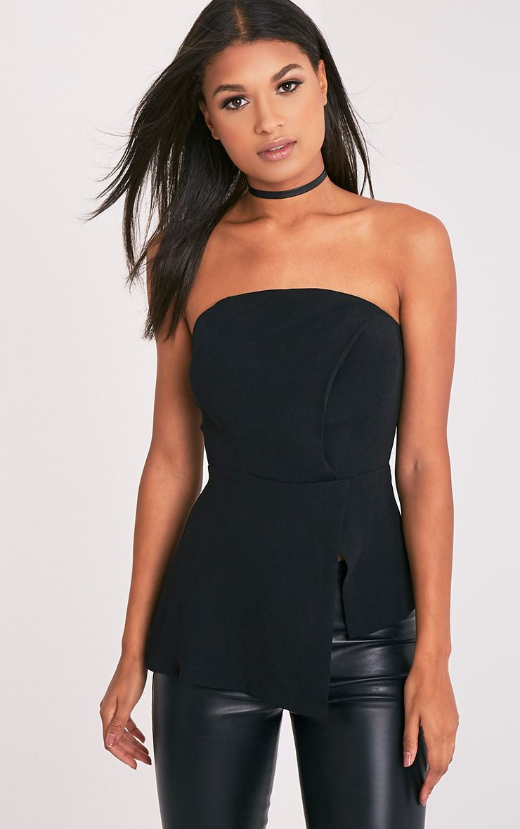 Jordyn Black Structured Bandeau Asymmetric Top