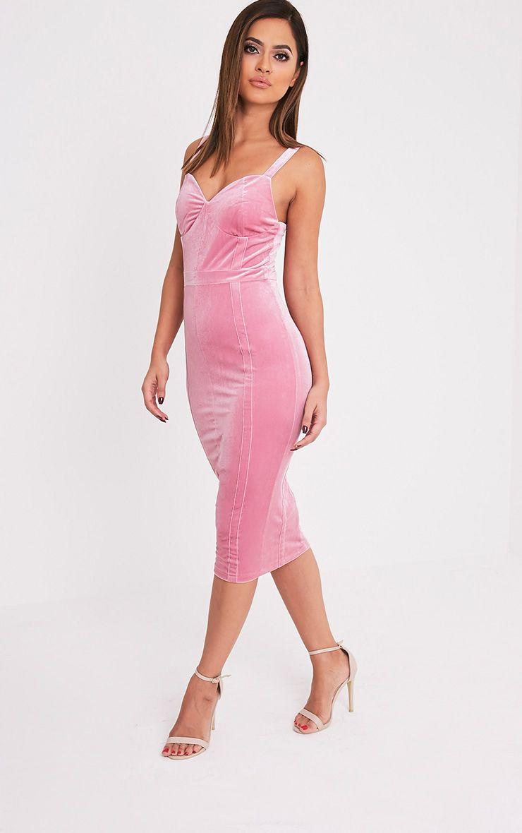 Garcia Dusty Pink Velvet Panel Midi Dress 1