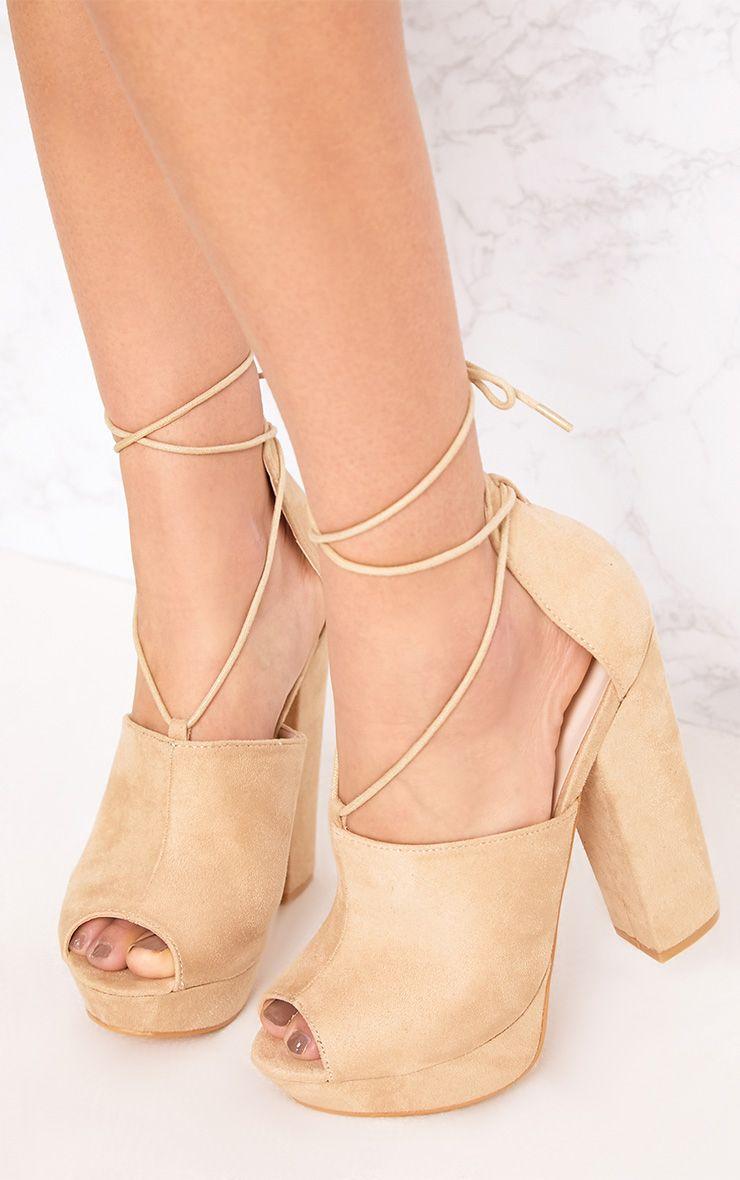 Maranda Nude Faux Suede Tie Ankle Platforms
