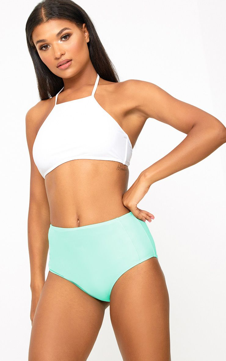 Bas de bikini taille haute menthe à coordonner