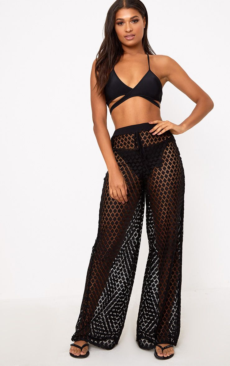 Black Wide Leg Crochet Trousers