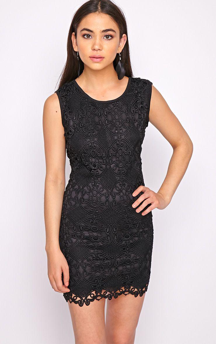 Nadia Black Lace Shift Dress  1