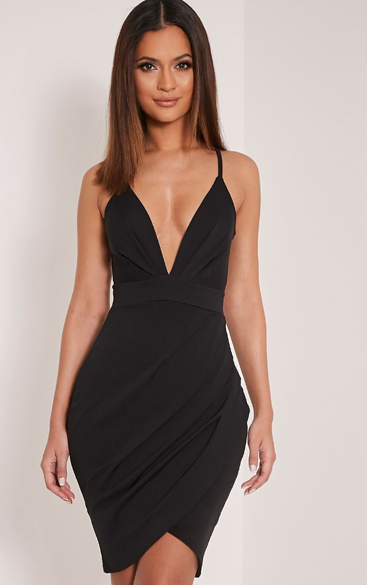 Carlia Black Plunge Wrap Detail Crepe Mini Dress 1
