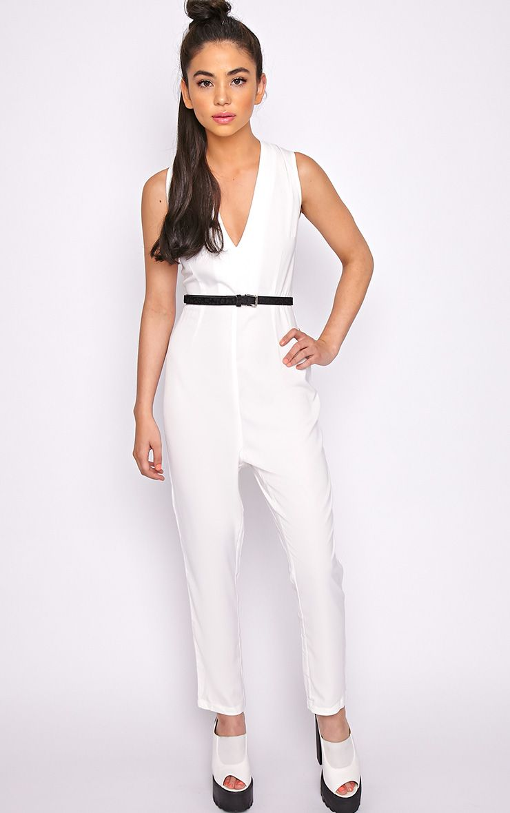 Skye White V Front Tailored Jumpsuit  1