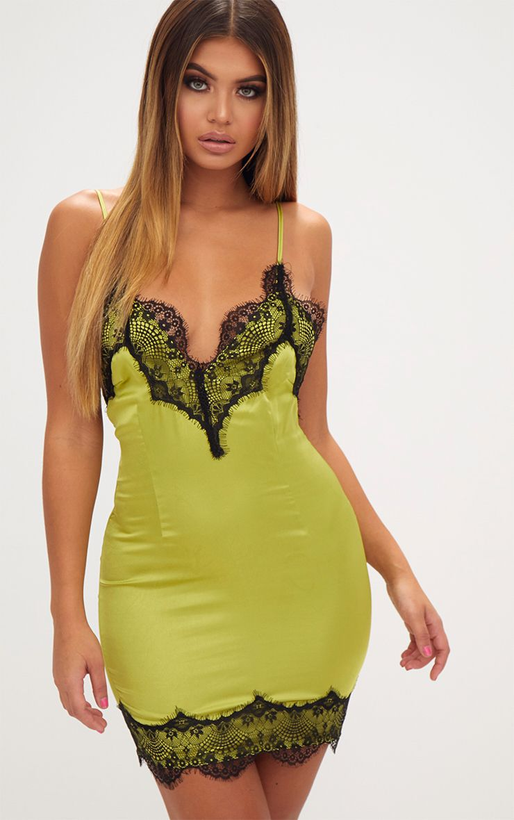Lime Satin Lace Trim Strappy Bodycon Dress