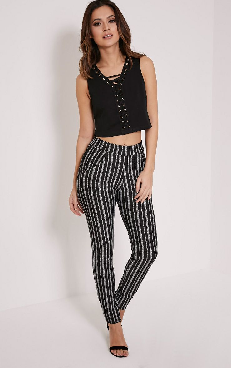 Sage Stripe Cigarette Trousers 1