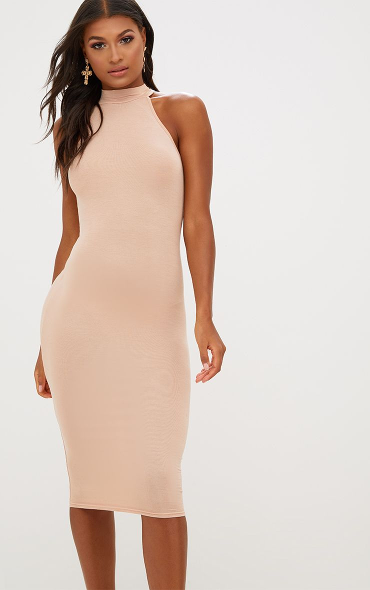 Nude High Neck Midi Dress