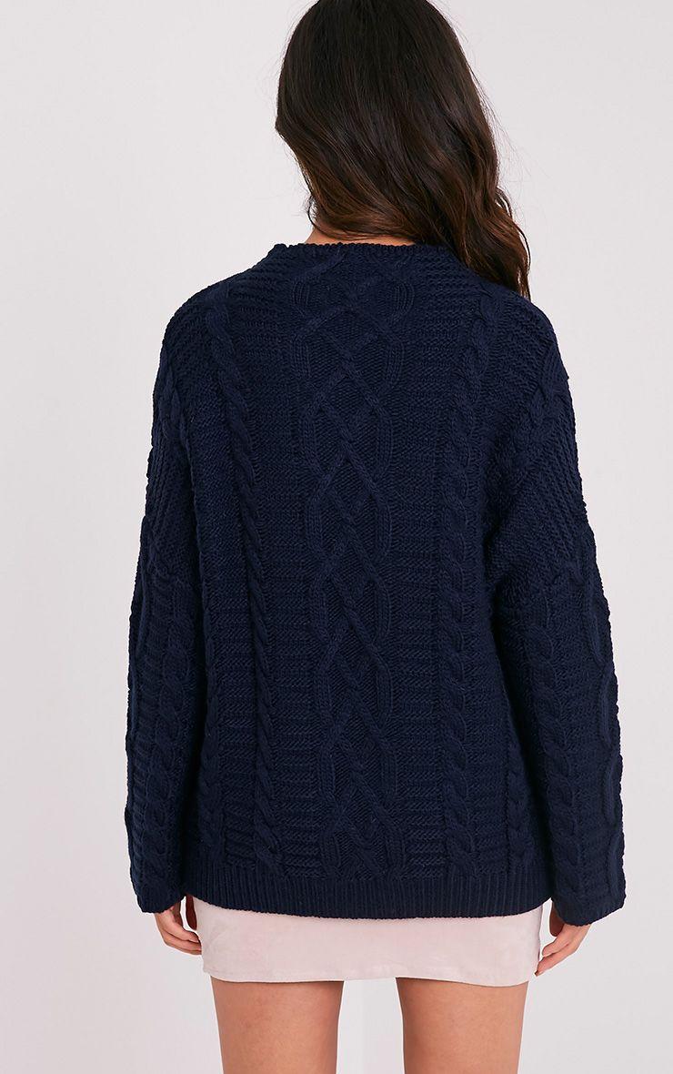 Giannae pull en tricot torsadé surdimensionné bleu marine 3
