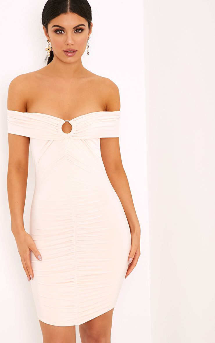 Tilda Nude Slinky Ring Detail Bodycon Dress