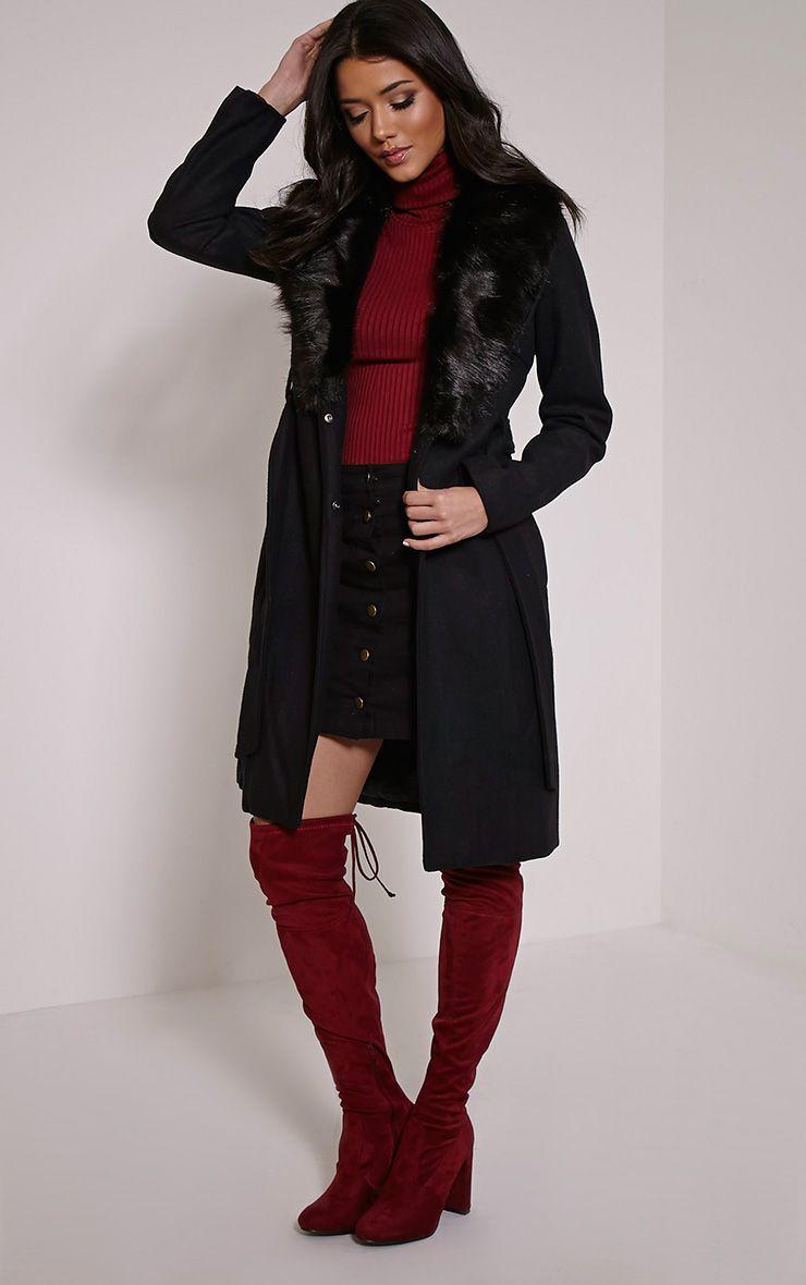 Deleena Black Large Faux Fur Collar Coat 1