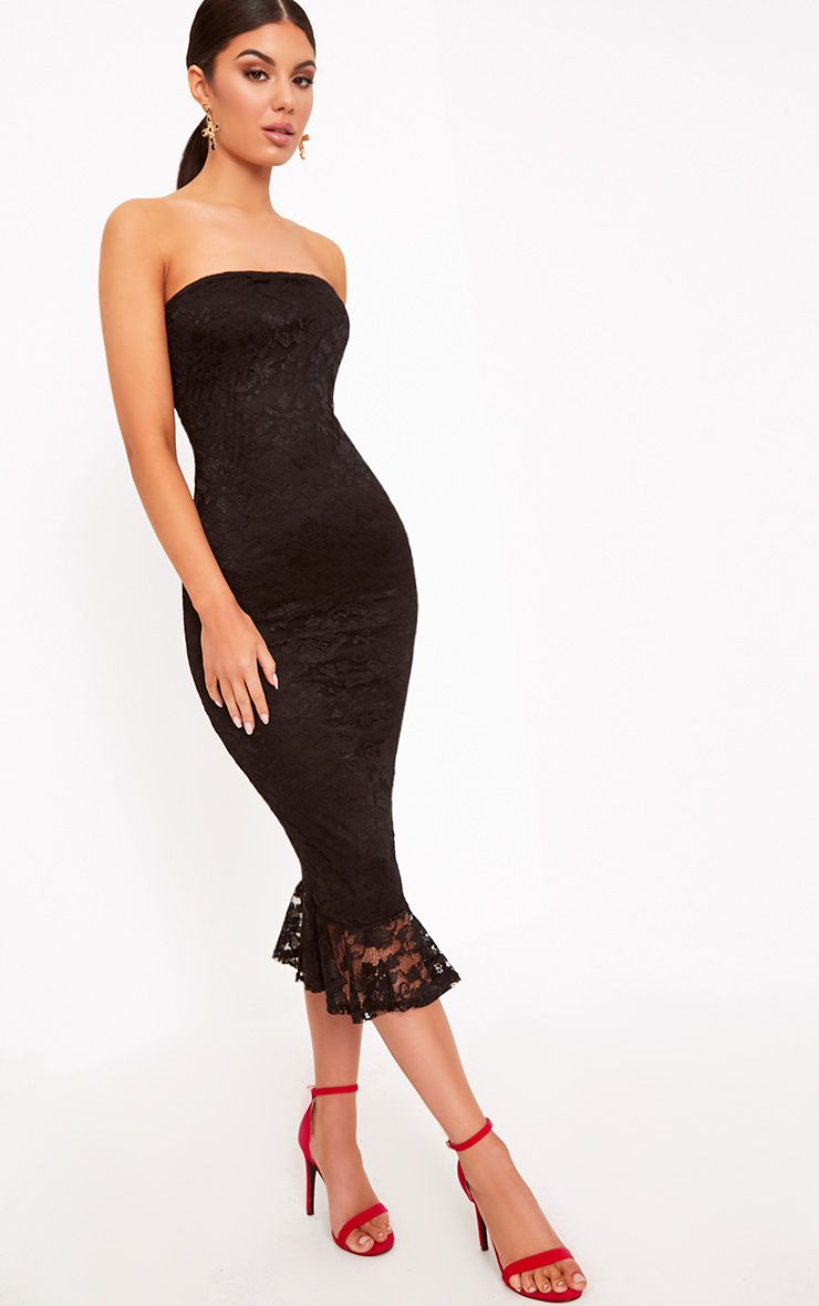 Ellen Black Lace Bandeau Frill Hem Midi Dress