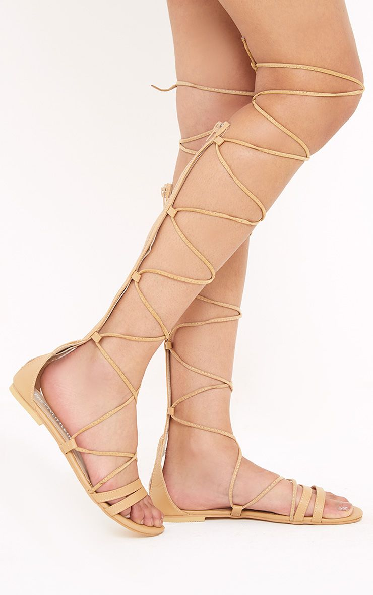 Lorna Nude Over The Knee Lace Up Sandals