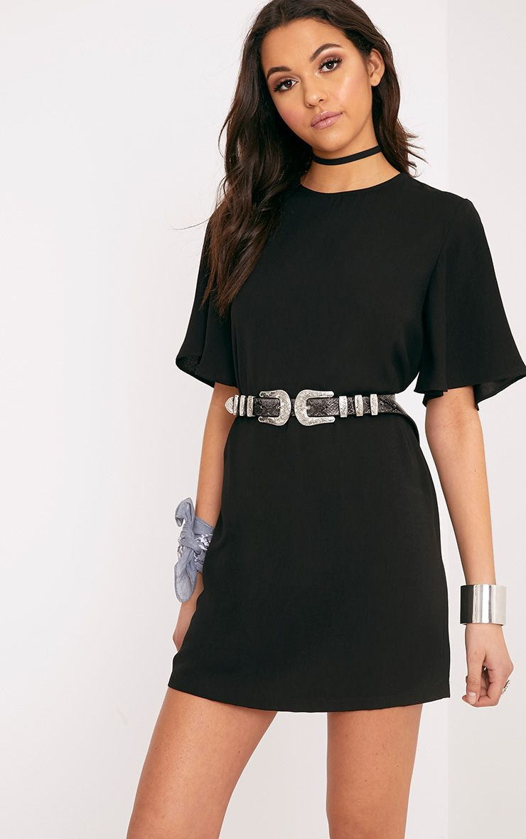 Ashanti Black Short Sleeve Shift Dress