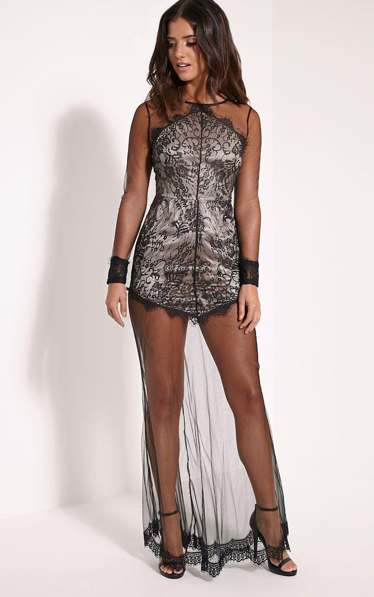 Phillipa Black Lace Mesh Insert Maxi Dress 1