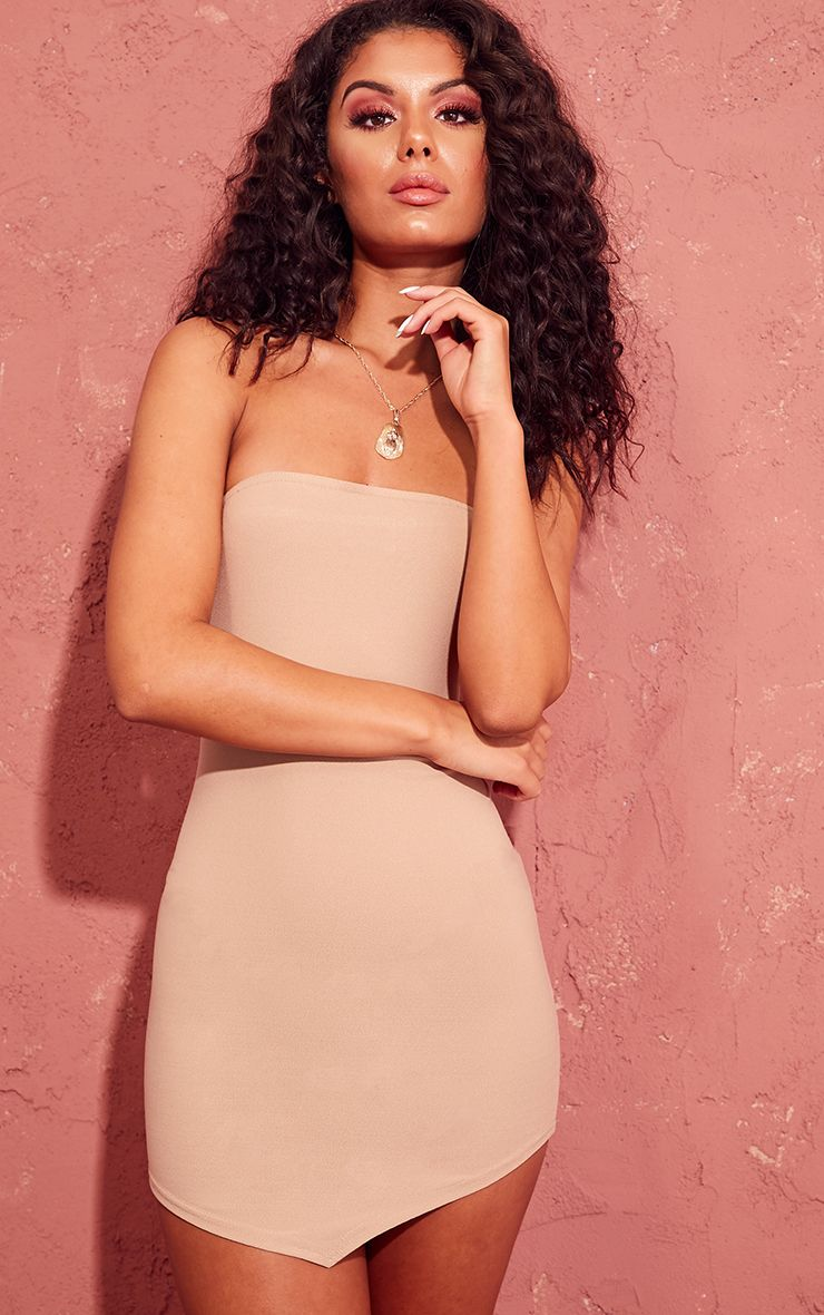 Stone Bandeau Pointy Hem Bodycon Dress