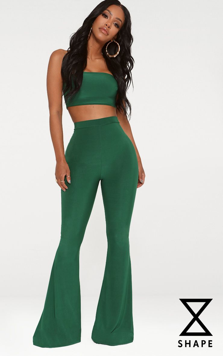 PRETTYLITTLETHING Shape Bright Slinky Flared Trousers Free Shipping Get Authentic 7UCyY
