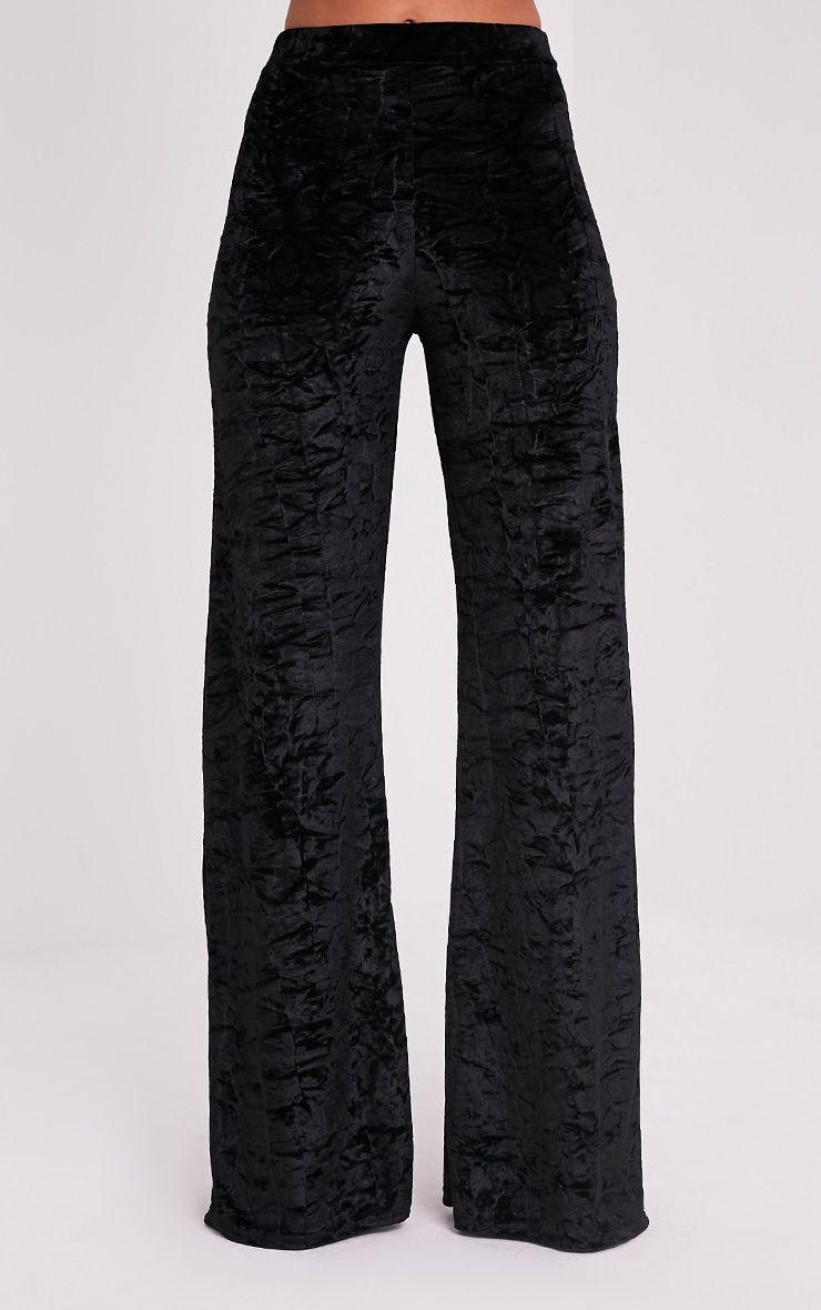 Jill Black Crushed Velvet Palazzo Trousers 2