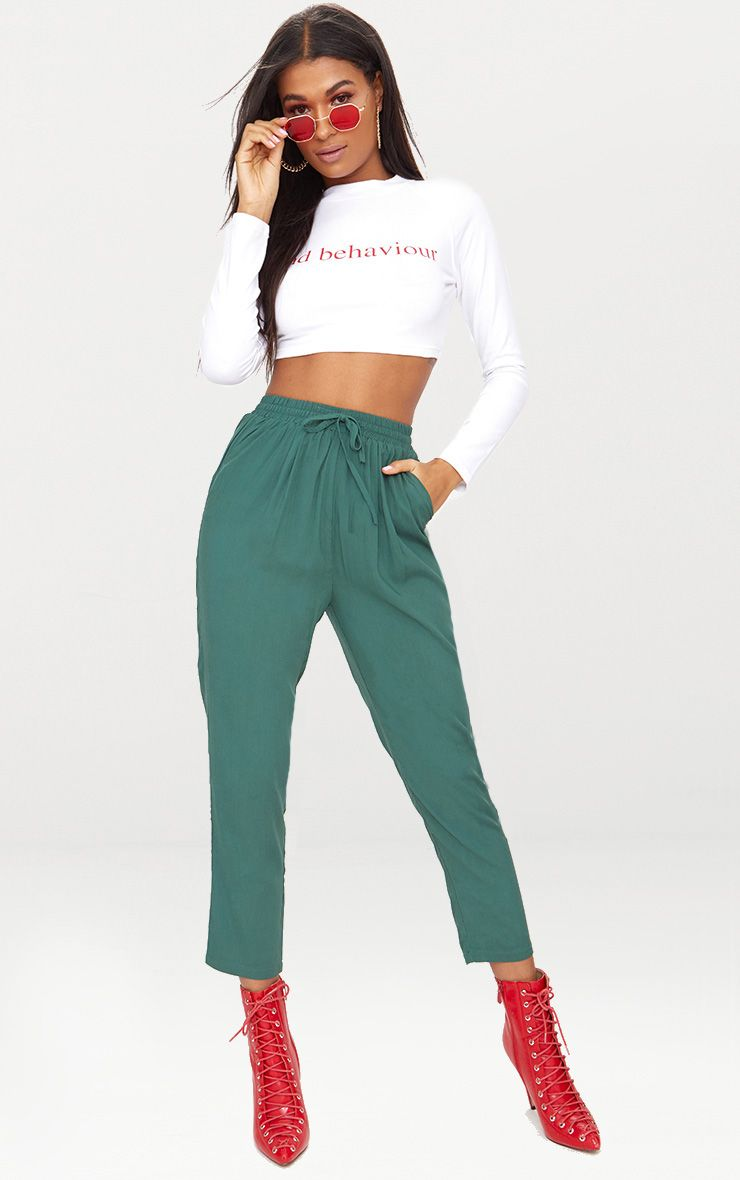 Emerald Green Casual Trousers