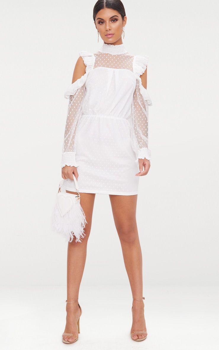 White Lace High Neck Cold Shoulder Frill Detail Skater Dress