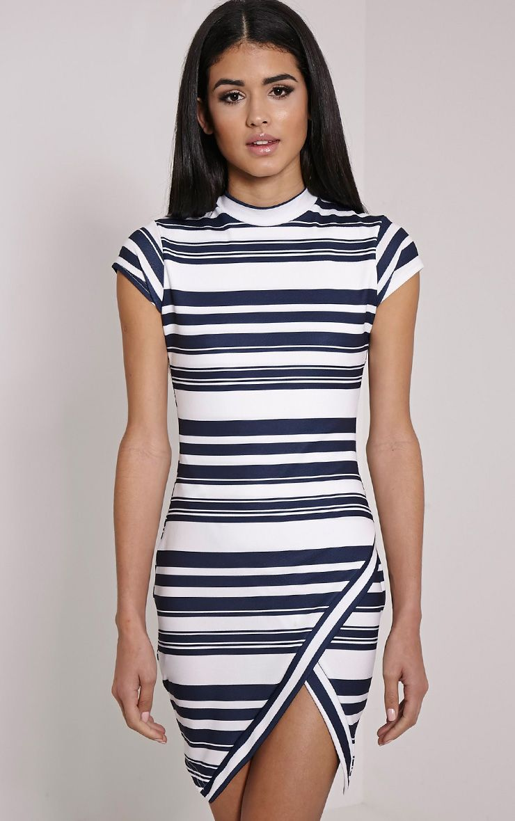 Klara White Stripe Asymmetric Dress 1