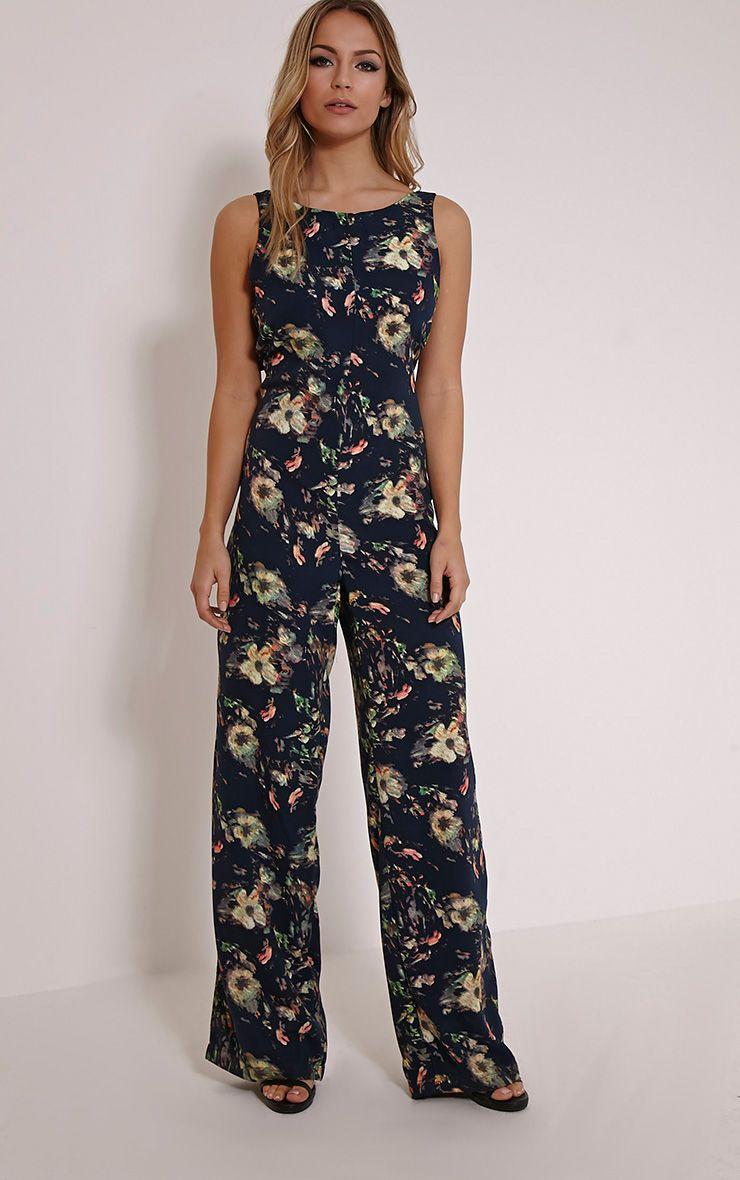 Loucina Black Floral Jumpsuit