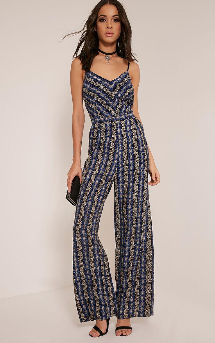 Leeah Blue Stripe Floral Print Jumpsuit