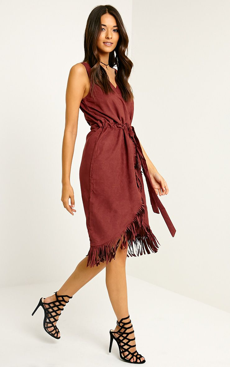 Meg Burgundy Suede Wrap Tassel Dress 1