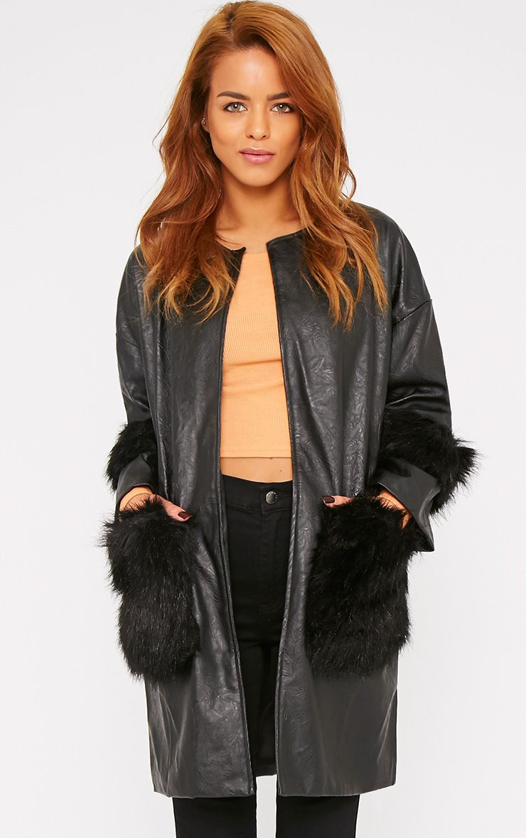 Nigela Black Leather Faux Fur Detail Collarless Coat-S 1