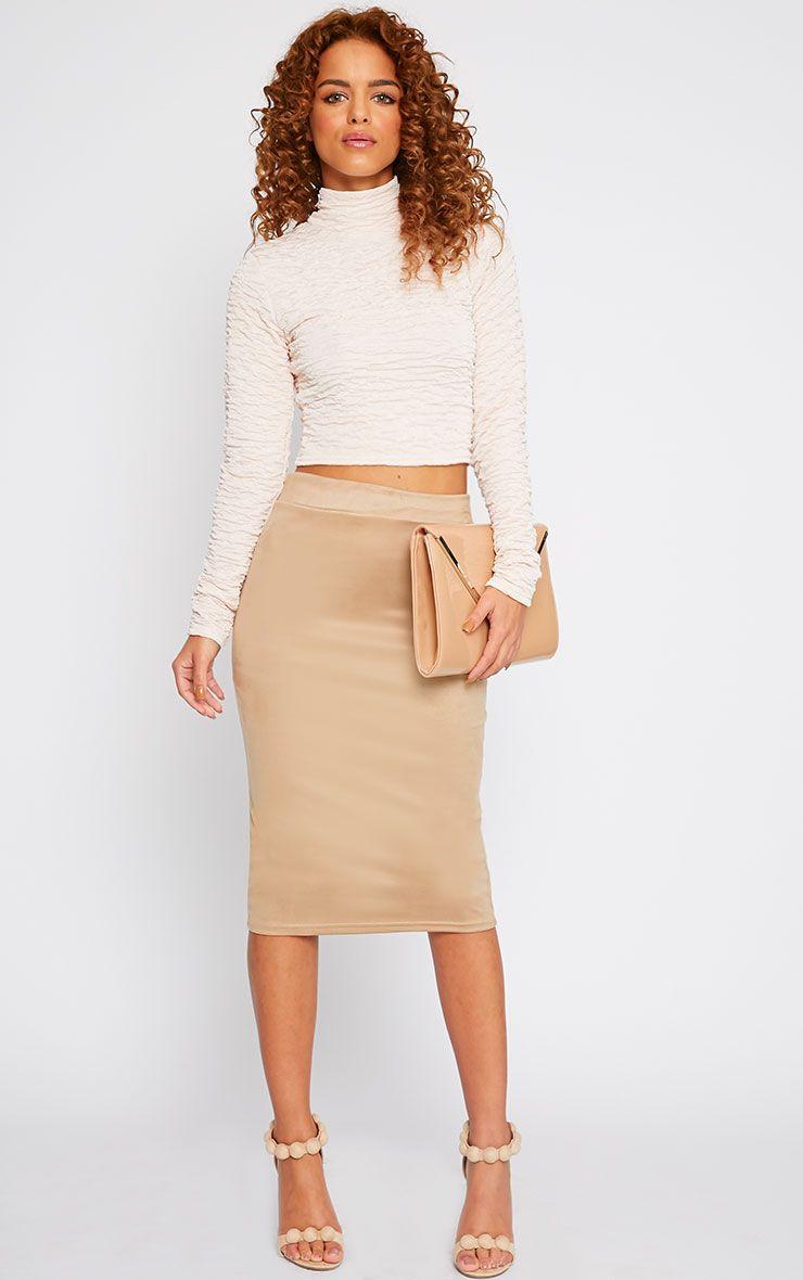 Sofia Camel Suede Midi Skirt 1