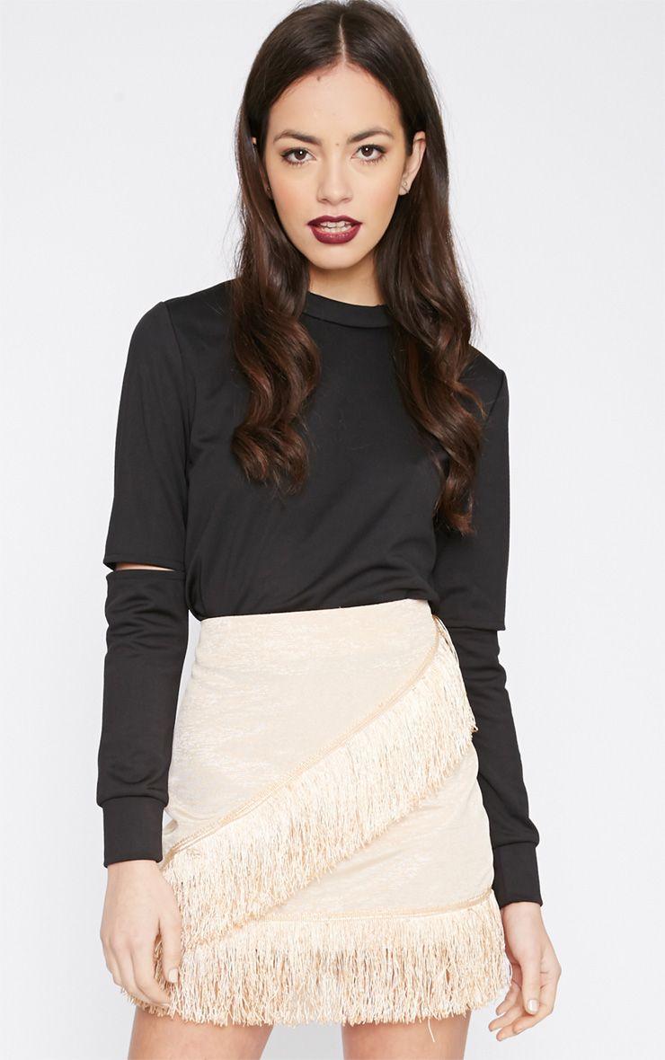 Yasmine Champagne Tassel Mini Skirt  1