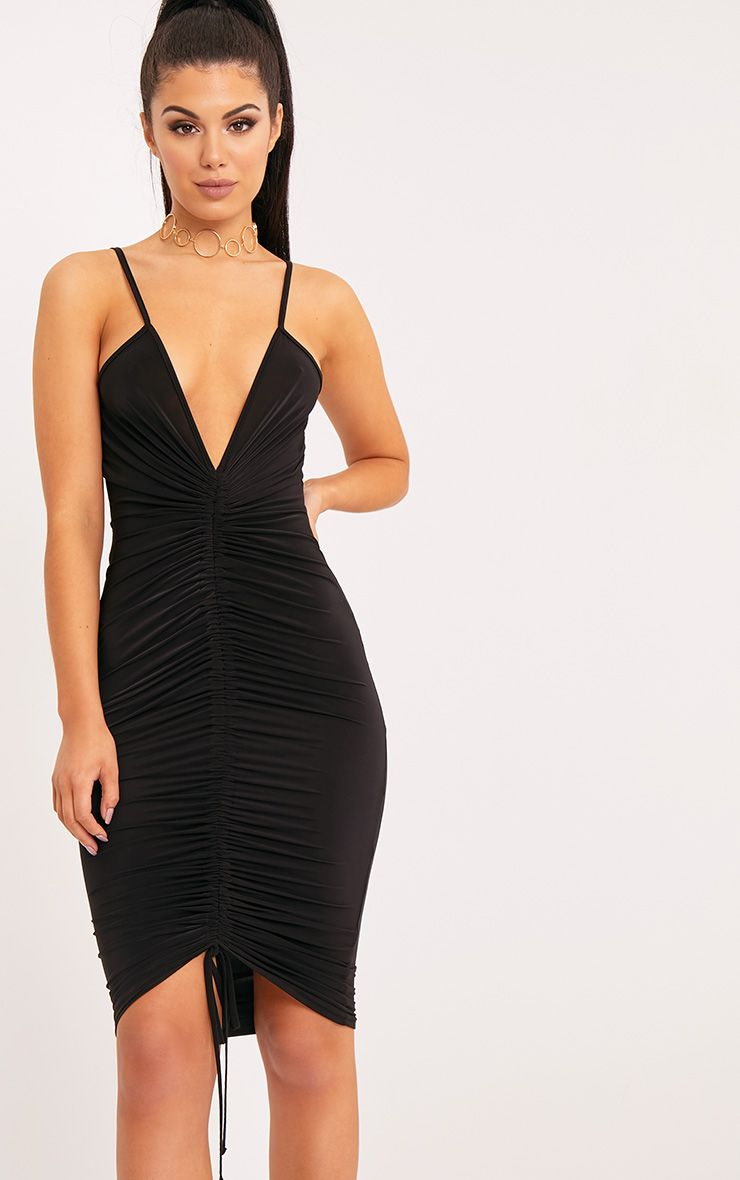Lucie Black Strappy Ruched Midi Dress